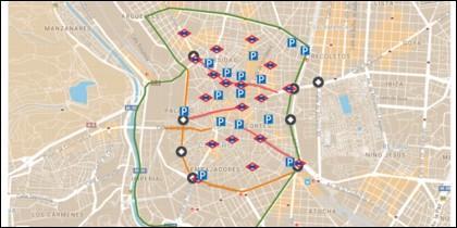 Aparcamientos y estaciones de Metro en el centro de Madrid.