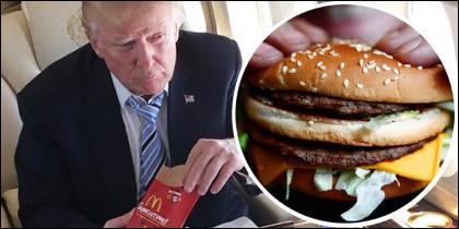 Donald Trump con su menú de hamburguesa y patatas fritas en McDonald's.