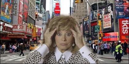 Teresa Campos en la Times Square de Nueva York.