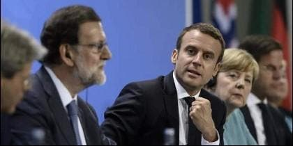 Mariano Rajoy, Emmanuel Macron y Angela Merkel.