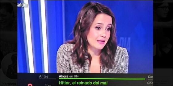 El rótulo que la cadena catalana 8TV pone debajo de Inés Arrimadas.