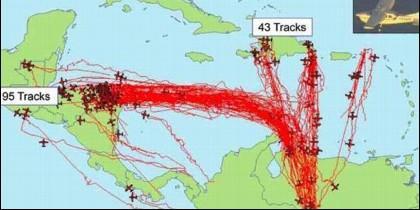 Rutas de los vuelos de droga de Venezuela a Honduras.