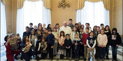 El Papa, con los chicos de Acción Católica