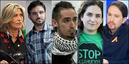 Julia Otero, Jordi Évole, Rodrigo Lanza, Ada Colau y Pablo Iglesias.