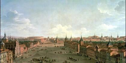 Vista de la calle de Alcalá de Madrid. Obra de Antonio Joli. 1760.