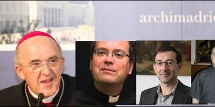 El cardenal Osoro, y sus tres nuevos auxiliares: Vidal, Cobo y Montoya