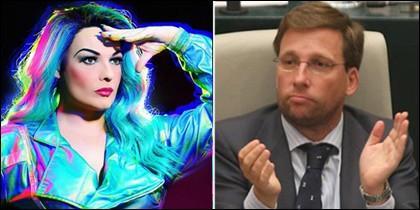 La drag queen La Prohibida y Martínez Almeida.