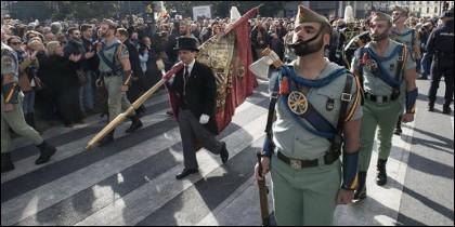 Un destacamento de la Legión, en la céntrica plaza del Carmen de Granada