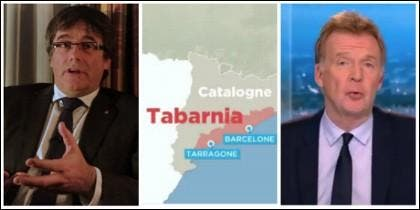 Carles Puigdemont y el reportaje sobre Tabarnia en la televisión belga.