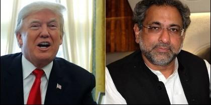 El presidente estadounidense Donald Trump, y el primer ministro pakistaní, Shahid Khaqan Abbasi.