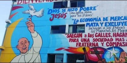 Mural para el Papa en Chile