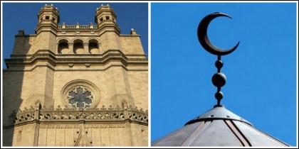 Una iglesia de Castellón y la media luna islámica.