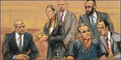 Un dibujo sobre 'El Chapo' ante el tribunal.