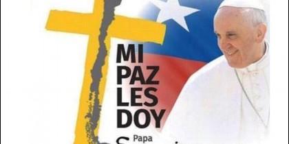 Cartel de la visita de Francisco a Chile
