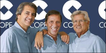 Manolo Lama, Paco González y Pepe Domingo Castaño (COPE).
