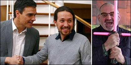 Pedro Sánchez y Pablo Iglesias mirando a Antón Losada haciendo el bobo.