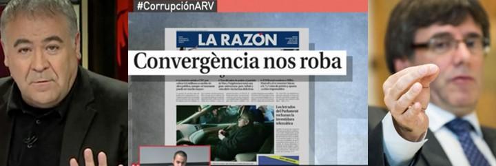 Ferreras; noticia de La Razón; y Puigdemont.