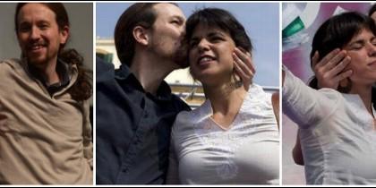 Iglesias, besando por duplicado a una cada vez más esquiva Teresa Rodríguez.