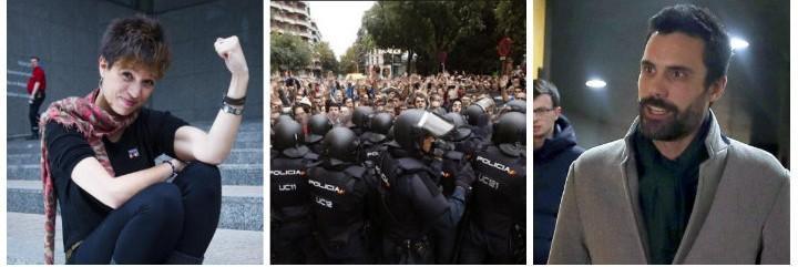 Beatriz Talegón, policías acosados el 1-O y el presidente del Parlamento, Roger Torrent.