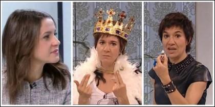 Inés Arrimadas y Empar Moliner cuando se burló de los pitos al himno de España.