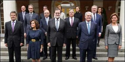 El presidente Rajoy y los ministros de su Gobierno.