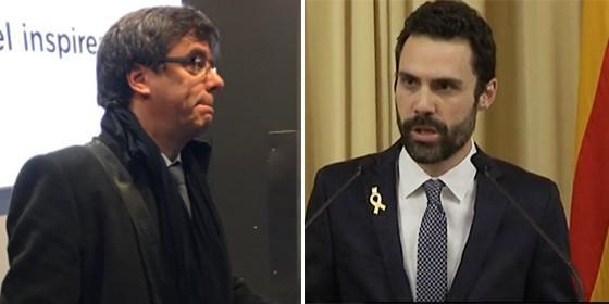Carles Puigdemont y Roger Torrent.