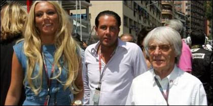 James Stunt con Petra Ecclestone y su exsuegro Bernie Ecclestone.
