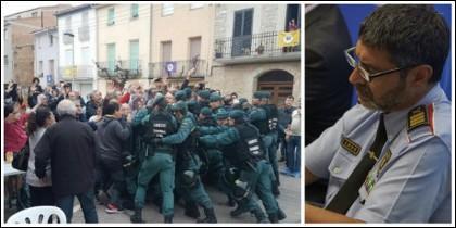 Agentes de la Guardia Civil acosados por los golpistas que habían sido avisados por los Mossos.