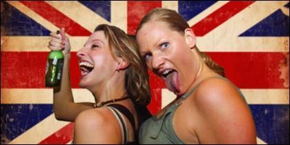 Turistas britanicos de borrachera.