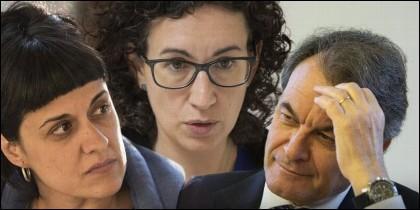 Anna Gabriel, Marta Rovira y Artur Mas.