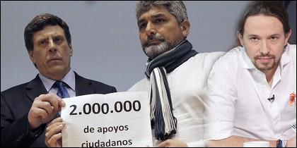 Juan Carlos Quer, Juan José Cortésy Pablo Iglesias.