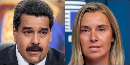 Nicolás Maduro y Federica Mogherini.