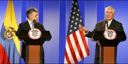 El presidente de Colombia, Juan Manuel Santos, y el secretario de Estado de EEUU, Rex Tillerson.