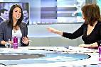 La 'portavoza' de Podemos Irene Montero con la periodista Ana Rosa Quintana en Telecinco.