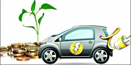 Coche eléctrico, híbrido y ecológico.