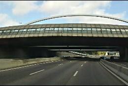 La M-30 de Madrid, a la altura del Puente de Ventas.
