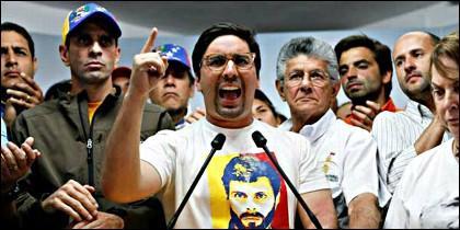 Dirigentes de la Mesa de la Unidad Democrática (MUD), la coalición de los partidos de la oposición en Venezuela.