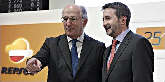 Antonio Brufau, presidente de Repsol, junto Josu Jon Imaz.