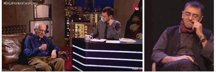 Antonio Escohotado y Juan Carlos Monedero y a la derecha el día que el podemita insinuó que Rivera esnifaba.