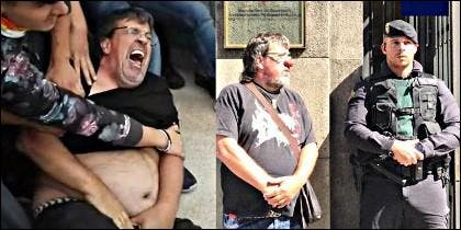Jordi Pesarrodona, concejal de ERC, simulnado haber sido agredido por la Guardia Civil.