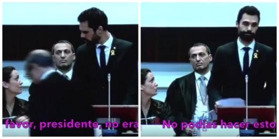 Roger Torrent, siendo reconvenido por la decana del Colegio de Abogados de Cataluña.