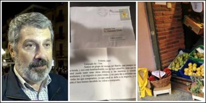 Pere Grau (Juntos por Cataluña), la carta recibida por el frutero y el lazo amarillo en el local.