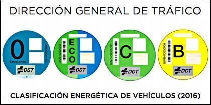 Las etiquetas de la DGT para los coches españoles: clasificación energética de la A a la C.