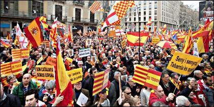 Manifestación en apoyo de Tabarnia, en Barcelona.