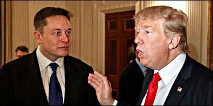 Elon Musk (TESLA) con Donald Trump (EEUU).