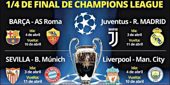 Champions un sorteo de cuartos duro pero el real madrid for Cuartos de final champions