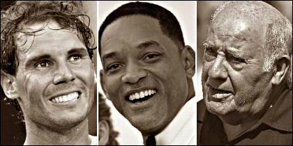 Rafa Nadal, Will Smith y Amancio Ortega.