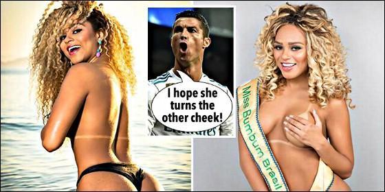 El diario The Sun pone a Cristiano Ronaldo entre dos imágenes de Erika Canela diciendo que espera que 'ponga la otra mejilla'.