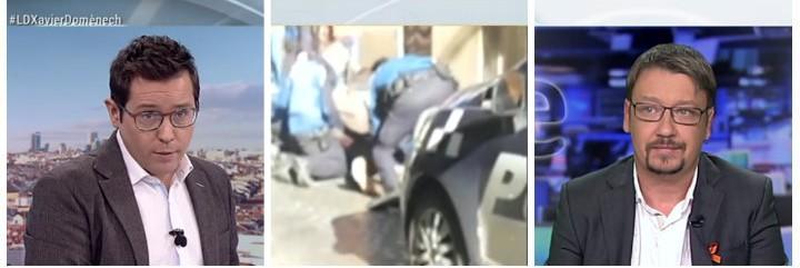 Sergio Martín (TVE), los policías atendiendo al mantero infartado y Xavier Domèmech (Podemos).