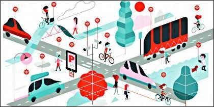 Internet, movilidad sostenible, transporte y coche eléctrico.